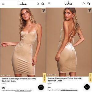 LULUS Champagne Velvet Lace Up Dress